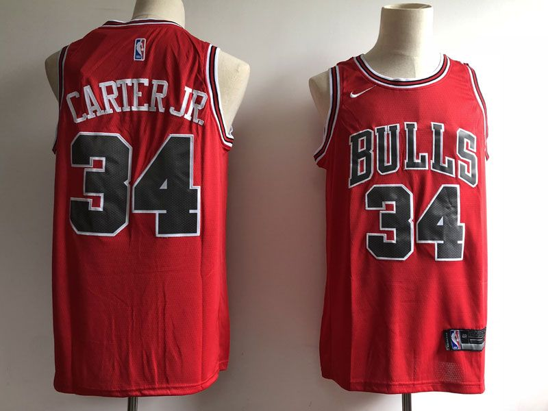 Mens Nba Chicago Bulls #34 Carter Jr Bulls Red Nike Icon Edition Jersey