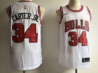 Mens Nba Chicago Bulls #34 Carter Jr Bulls White Nike Association Edition Jersey