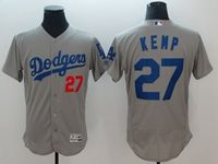 Mens Mlb Los Angeles Dodgers #27 Matt Kemp Gray Flex Base Player Jersey