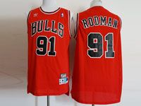 Mens Nba Chicago Bulls #91 Rodman Adidas Red Hardwood Classics Jersey