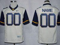Mens Ncaa Nfl Virginia Mountaineers Custom Made White Game Jersey