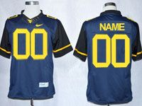 Mens Ncaa Nfl Virginia Mountaineers Custom Made Blue Game Jersey