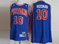 Mens Nba Detroit Pistons #10 Rodman Adidas Blue Hardwood Throwback Mesh Jersesy