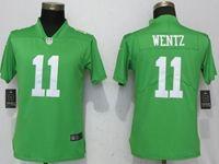 Women Philadelphia Eagles #11 Carson Wentz Green Vapor Untouchable Limited Player Jersey