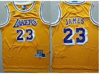 Mens Nba Los Angeles Lakers #23 Lebron James Gold Hardwood Classics Swingman Jersey