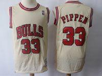 Mens Nba Chicago Bulls #33 Pippen Cream Mitchell&ness Swingman Hardwood Classics Mesh Jersey