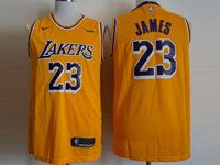 Mens Nba Los Angeles Lakers #23 Lebron James Nike 2018-19 Swingman Gold Jersey