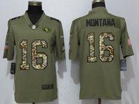 Mens Nfl San Francisco 49ers #16 Joe Montana Olive Camo Carson 2017 Salute To Service Limited Jersey