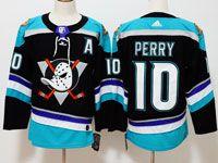 Mens Nhl Anaheim Mighty Ducks #10 Corey Perry Black Teal Adidas Alternate Jersey