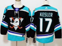 Mens Nhl Anaheim Mighty Ducks #17 Ryan Kesler Black Teal Adidas Alternate Jersey