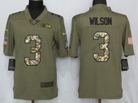 Mens Nfl Seattle Seahawks #3 Russell Wilson Olive Camo Carson 2017 Salute To Service Limited Jersey