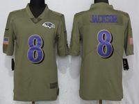 Mens Nfl Baltimore Ravens #8 Lamar Jackson Green Olive Salute To Service Limited Nike Jersey