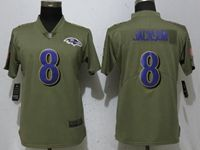 Women Nike Nfl Baltimore Ravens #8 Lamar Jackson Green Olive Salute To Service Elite Player Jersey