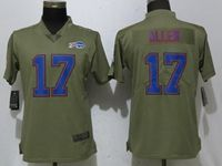 Women Nike Nfl Buffalo Bills #17 Josh Allen Green Olive Salute To Service Elite Player Jersey