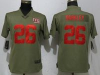Women Nike Nfl New York Giants #26 Saquon Barkley Green Olive Salute To Service Elite Player Jersey
