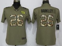 Women New York Giants #26 Saquon Barkley Green Olive Camo Carson 2017 Salute To Service Elite Player Jersey
