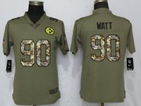 Women Pittsburgh Steelers #90 T. J. Watt Green Olive Camo Carson 2017 Salute To Service Elite Player Jersey