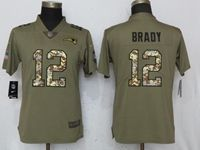 Women New England Patriots #12 Tom Brady Green Olive Camo Carson 2017 Salute To Service Elite Player Jersey