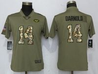Women New York Jets #14 Sam Darnold Green Olive Camo Carson 2017 Salute To Service Elite Player Jersey