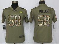 Women Denver Broncos #58 Von Miller Green Olive Camo Carson 2017 Salute To Service Elite Player Jersey