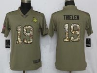 Women Minnesota Vikings #19 Adam Thielen Green Olive Camo Carson 2017 Salute To Service Elite Player Jersey