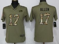 Women Buffalo Bills #17 Josh Allen Green Olive Camo Carson 2017 Salute To Service Elite Player Jersey