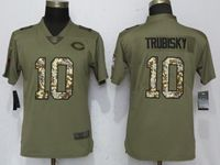 Women Chicago Bears #10 Mitchell Trubisky Green Olive Camo Carson 2017 Salute To Service Elite Player Jersey