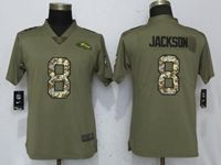 Women Baltimore Ravens #8 Lamar Jackson Green Olive Camo Carson 2017 Salute To Service Elite Player Jersey
