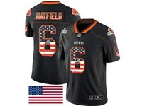 Mens Nfl Cleveland Browns #6 Baker Mayfield 2018 Usa Flag Fashion Black Vapor Untouchable Limited Jersey