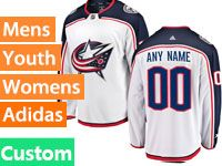 Mens Nhl Columbus Blue Jackets (custom Made) White Away Adidas Jersey