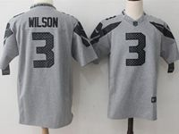 Mens Nfl Seattle Seahawks #3 Russell Wilson Gray Nike Limited Jersey(black Name)