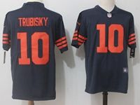 Mens Nfl Chicago Bears #10 Mitchell Trubisky Blue Orange Number Vapor Untouchable Limited Jersey