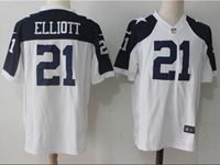 Mens Nfl Dallas Cowboys #21 Ezekiel Elliott White Thanksgiving Game Jersey