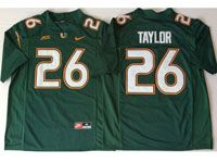 Mens Ncaa Nfl 2018 Miami Hurricanes #26 Sean Taylor Green Game Jersey