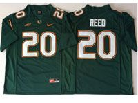 Mens Ncaa Nfl 2018 Miami Hurricanes #20 Ed Reed Green Game Jersey