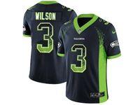 Mens Nfl Seattle Seahawks #3 Russell Wilson Blue Drift Fashion Vapor Untouchable Limited Jersey