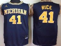 Mens Ncaa Nba Michigan Wolverines #41 Rice Navy Blue Jersey