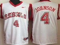 Mens Ncaa Nba Unlv Rebels #4 Johnson White Jersey