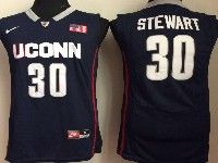 Mens Ncaa Nba Uconn Huskies #30 Stewart Navy Blue Jersey