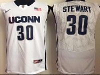 Mens Ncaa Nba Uconn Huskies #30 Stewart White Jersey