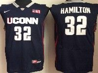 Mens Ncaa Nba Uconn Huskies #32 Hamilton Navy Blue Jersey