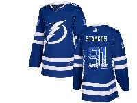 Mens Tampa Bay Lightning #91 Steven Stamkos Drift Fashion Home Blue Adidas Jersey