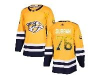 Mens Nashville Predators #76 P. K. Subban Gold Drift Fashion Home Adidas Jersey