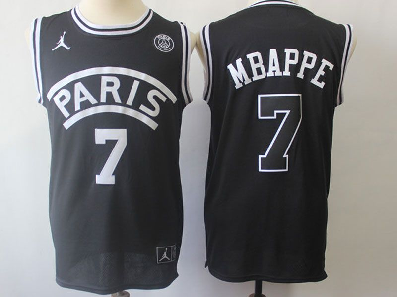 Mens Nba Movie Aj Psg Paris Saint Germain #7 Mbappe Basketball Balck Jersey