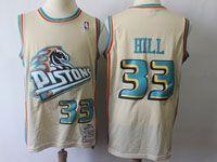Mens Nba Detroit Pistons #33 Grant Hill Cream Hardwood Classics Jersey