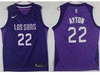 Mens Nba Phoenix Suns #22 Deandre Ayton Purple Nike Los Suns Swingman Jersey
