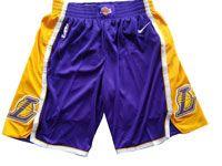 Mens Nba 2017-18 Season Los Angeles Lakers Purple Yellow Nike Shorts