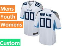Mens Women Youth Nfl Tennessee Titans Custom Made 2018 White Game Jersey
