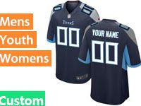 Mens Women Youth Nfl Tennessee Titans Custom Made 2018 Dark Blue Game Jersey