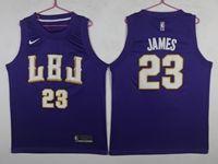 New Mens Nba Los Angeles Lakers #23 Lebron James Purple Hardwood Classics Jersey